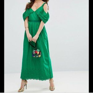 ASOS Green Eyelet Cold Shoulder Maxi Dress Sz 4